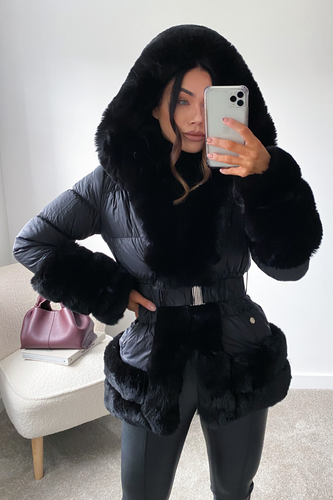 DANIELLA Black Faux Fur Puffer Coat