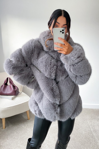 NAOMI Grey Five Ring Faux Fur Coat