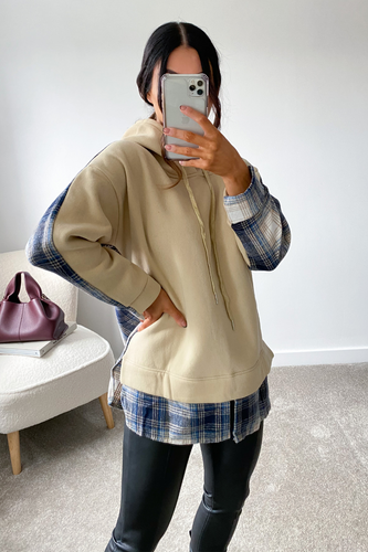 LOLA Beige Blue Checked Back Hoodie