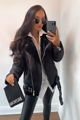 LEAH Black Faux Leather Aviator Coat