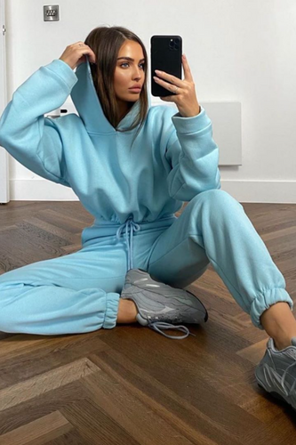 LARA Powder Blue Hooded Crop Lounge Set