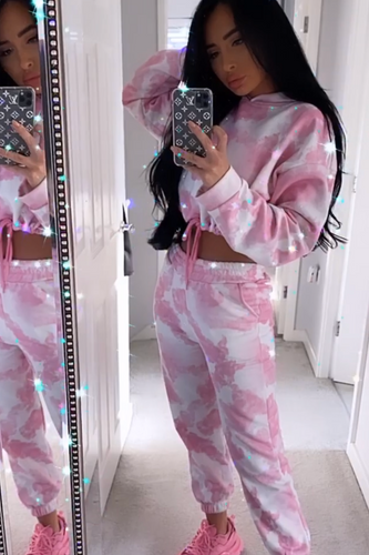 MAISEY Pink Tie Dye Hooded Lounge Set