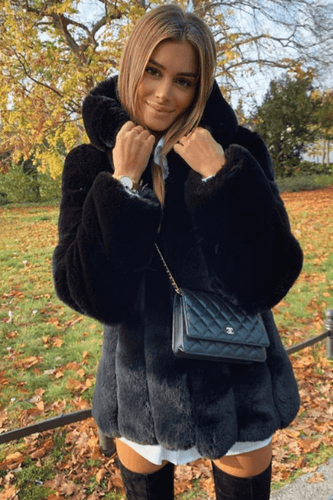 ANOUSHKA Black Faux Fur Hooded Coat