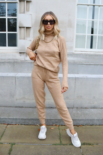 LAURA Camel Turtle Neck Soft Knit Loungewear Set