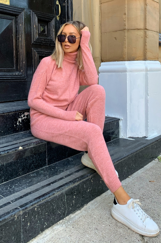 LAURA Pink Turtle Neck Soft Knit Loungewar Set