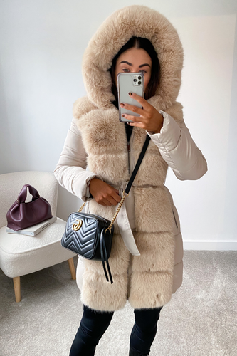 CASANDRA Beige Faux Fur Front Paded Coat