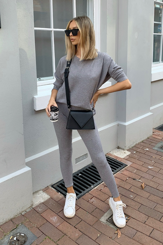 CLAIRE Grey Ribbed Leggings Loungewear set