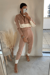 ARIA Cream and Blush Pink Knitted Contrast Stripe Lounge Set