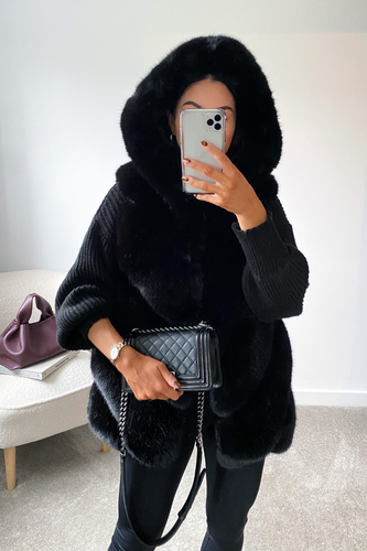 CLAUDETTE Black Faux Fur Hooded Gilet