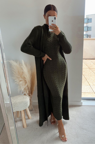 CARLA Khaki Maxi Cardigan And Dress Knitted Set
