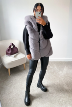 Load image into Gallery viewer, CLAUDETTE Grey Faux Fur Hooded Gilet