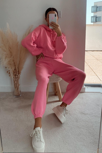 STORMY Pink Hooded Knit Loungewear Set