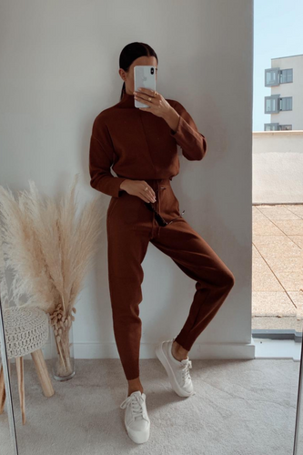 KELSEY Rust High Neck Fitted Loungewear Set