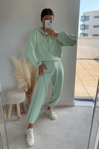 STORMY Mint Hooded Knit Loungewear Set