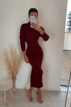 Load image into Gallery viewer, SHONI Burgundy Turtle Neck Long Sleeve Ribbed Maxi Dress