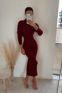 SHONI Burgundy Turtle Neck Long Sleeve Ribbed Maxi Dress