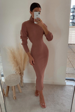 Load image into Gallery viewer, SHONI Blush Turtle Neck Long Sleeve Ribbed Maxi Dress