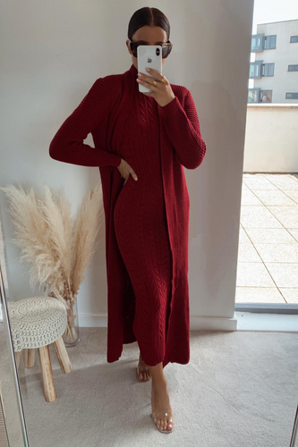 CARLA Burgundy Maxi Cardigan And Dress Knitted Set