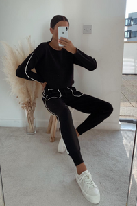 LOUISE Black Knitted Loungewear Set
