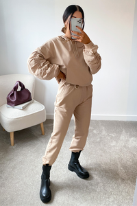 LISA Camel Ruched Sleeve Hooded Loungewear Set