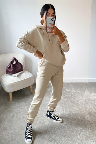 CAROL Cream Hoodie and Jogger Set