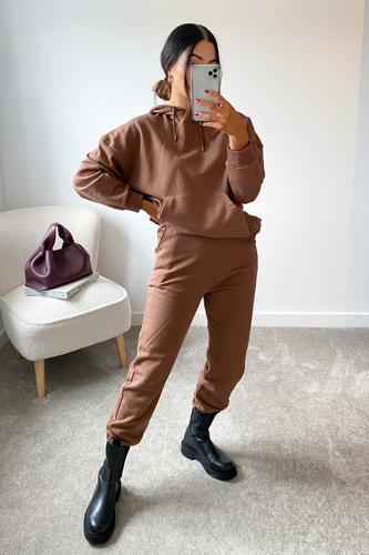 CAROL Brown Hoodie and Jogger Set