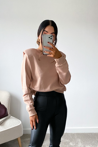 BETH Blush Basic Shoulder Pad Jumper