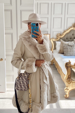 Load image into Gallery viewer, JORDYN Cream Faux Fur Cream Belted Long Coat