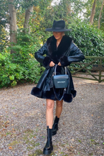 Load image into Gallery viewer, JORDYN Black Faux Fur Black Belted Long Coat