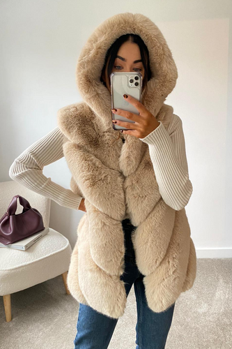 CLAUDETTE Beige Faux Fur Hooded Gilet
