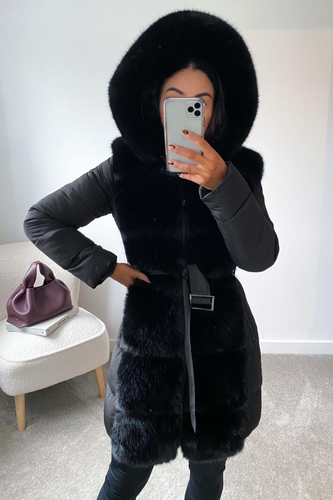 CASANDRA Black Faux Fur Front Padded Coat