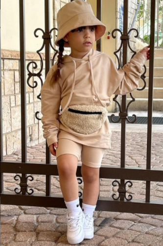 Mini ROME Camel Hooded Cropped Cycling Shorts Set