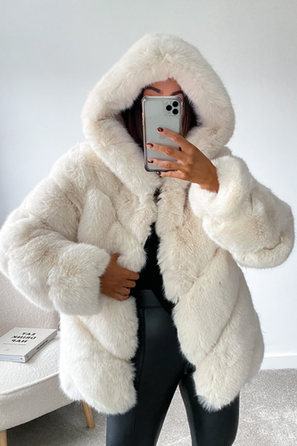CHARLETTE Cream Five Ring Faux Fur Hooded Coat