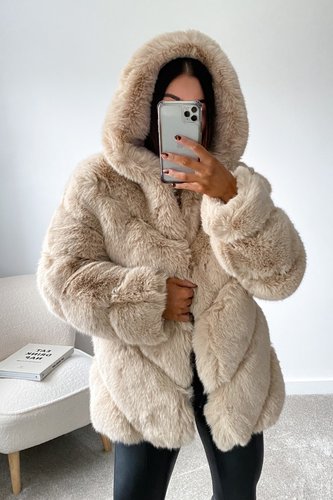 CHARLETTE Beige Five Ring Faux Fur Hooded Coat