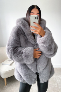 CHARLETTE Grey Five Ring Faux Fur Hooded Coat