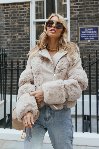 LUNA Cream Faux Fur PU Aviator Jacket