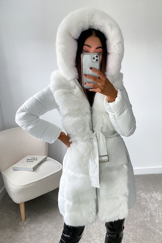 CASANDRA White Faux Fur Front Padded Coat