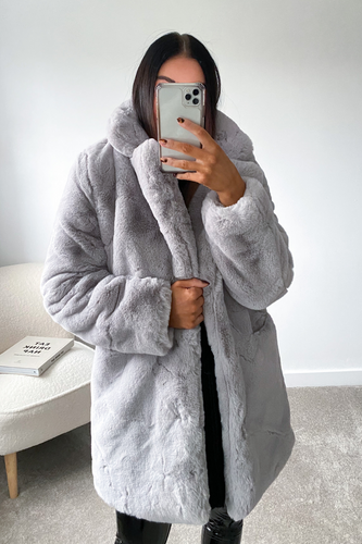 ELLE Grey Faux Fur Coat