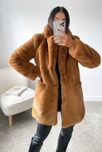 Load image into Gallery viewer, ELLE Camel Faux Fur Coat