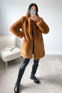 ELLE Camel Faux Fur Coat
