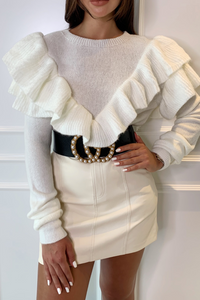 RACHEL Cream Frill Detail Knitted Jumper