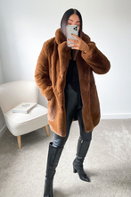 Load image into Gallery viewer, ELLE Chocolate Faux Fur Coat
