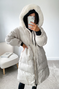 DELILAH Cream Faux Fur Parka Padded Coat