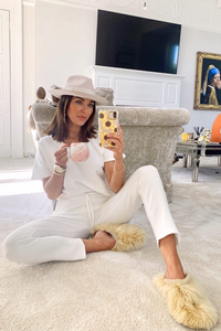 Stella White V Neck Loungewear Set