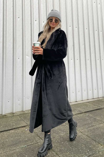 EMILIA Black Belted Faux Fur Coat