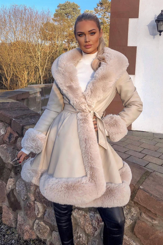 JORDYN Cream Faux Fur Cream Belted Long Coat