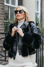Load image into Gallery viewer, LUNA Black Faux Fur PU Aviator Jacket