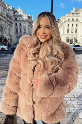 CHARLETTE Camel Five Ring Faux Fur Hooded Coat