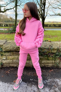 Mini JASMINE Pink Ruched Sleeve Hooded Jogger Set