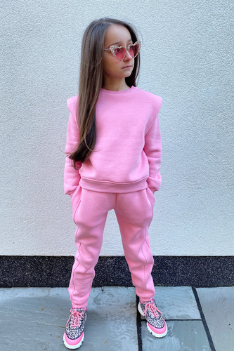 Mini LAYLA Pink Shoulder Pad Top And Jogger Set